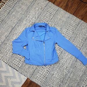 H by Halston Moto Jacket Blue Size 10